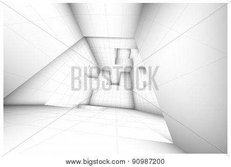 Futuristic Labyrinth Shaded Vector Interior Illustration
