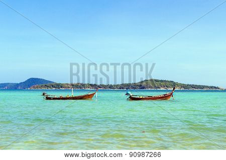 Traditional thai longtail boat in Phuket Thailand