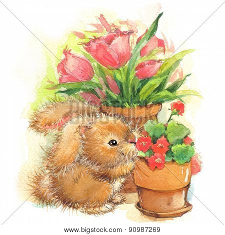 Funny bunny and flowers vintage illustration.