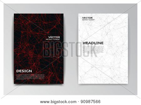 Brochure With Red And Black Abstract Elements