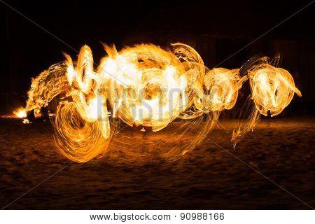 Man Fire Show on the beach