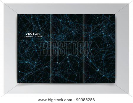Black Template Of Booklet With Abstract Blue Elements