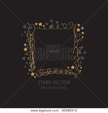 Round frame with golden stars