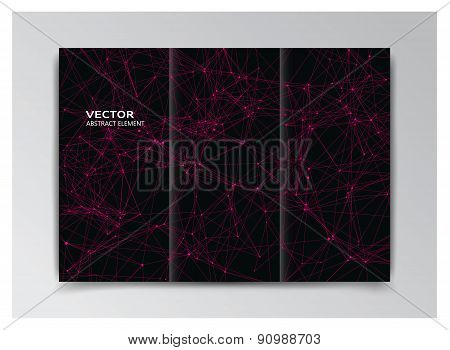 Black Template Of Booklet With Abstract Pink Elements