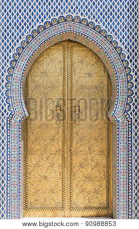 Golden door in Fez, Morocco.