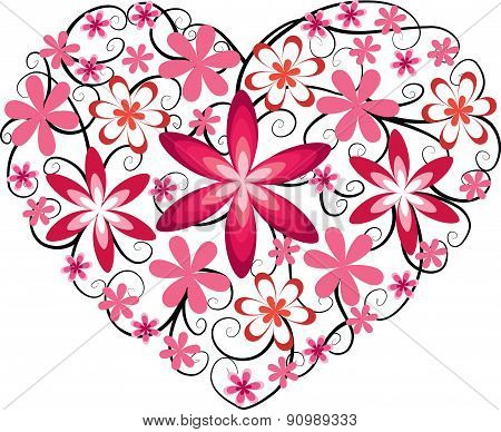 vector heart shape with flower