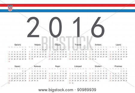 Croatian 2016 Year Vector Calendar