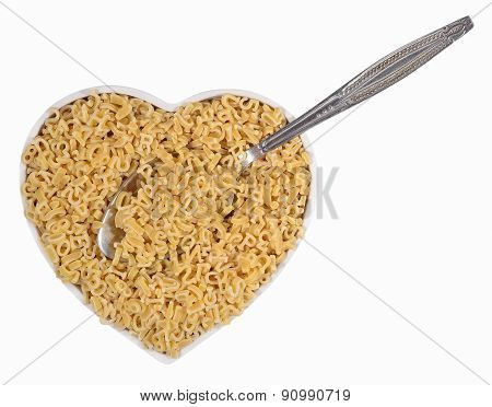 Alphabet Pasta In Plate In The Form Of Heart On A White