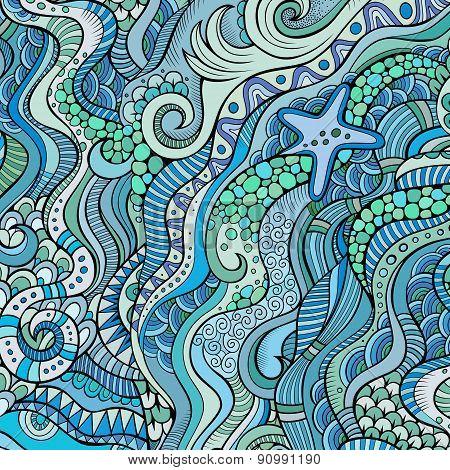 Decorative marine sealife ethnic background
