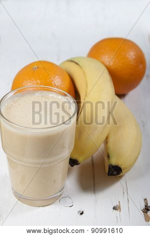 Smoothie Of Banana, Orange   With Yogurt
