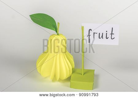 paper pear  and card with word