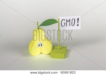 paper half pear  and card with word