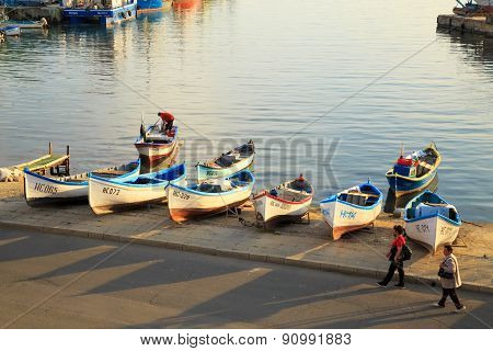 The Harbor Of The Old Town Of Nessebar, Bulgaria