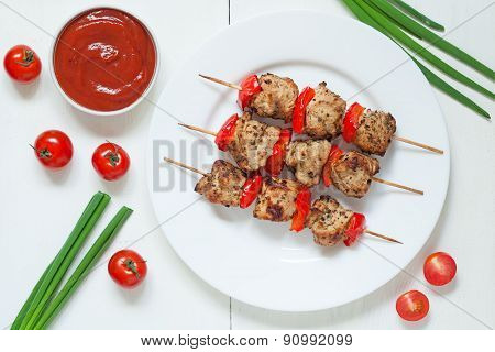 Traditional roasted turkey kebab skewer barbecue meat with vegetables and sauce on white dish. Serve