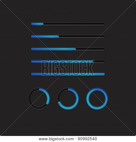 Blue loading bars and spinner