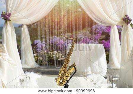 Gold Saxophone In Wedding Ceremony Decoration