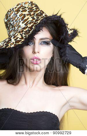 Portrait Of Attractive Pretty Girl In Leopard Hat