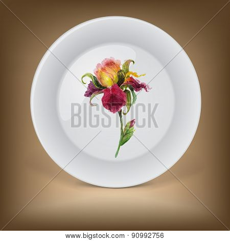 Decorative plate with beautiful watercolor iris flower .