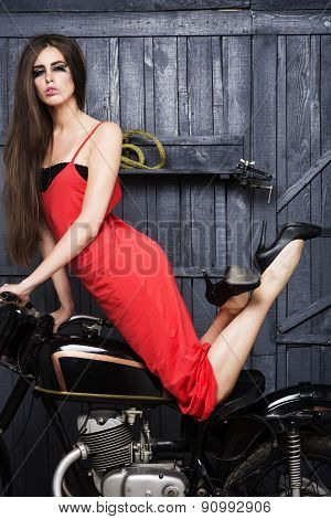 Sexual Slim Young Girl On Motorbike