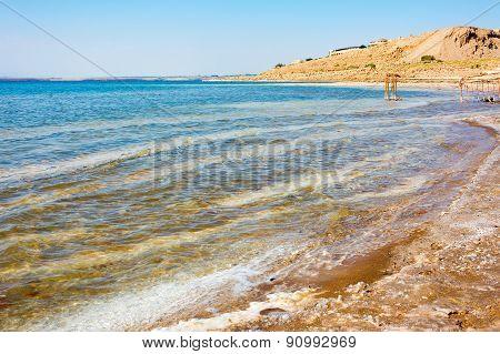 Beach Coastline Of The Dead Sea In Jordan