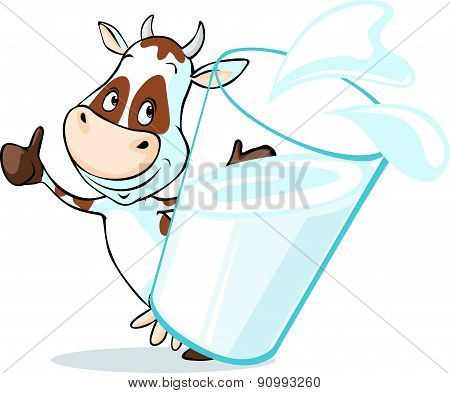 Cute Cow Behind Glass Of Milk - Isolated On White Background