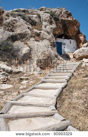 Christian Cave Church Of Agioi Saranta In  Cyprus