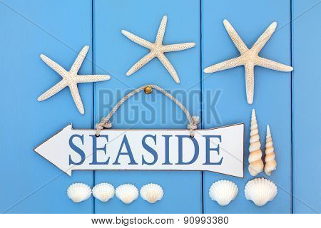 Seaside sign, starfish, cockle and turritella shells over wooden blue background.
