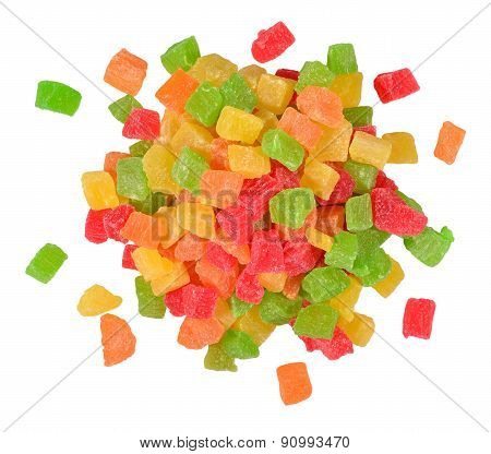 Heap Of  Candied Fruits  On A White