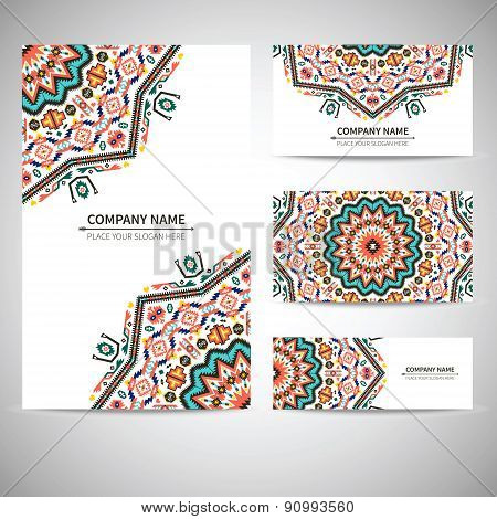 Business card template. Vector illustration in tribal style