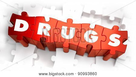 Drugs - Text on Red Puzzles.