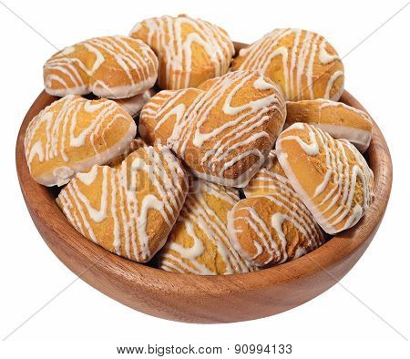 Cookies In Heart Shape In A Wooden Bowl On A White