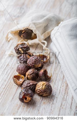 Nutshells Of Soapnuts In A Cotton Bag For Laundry