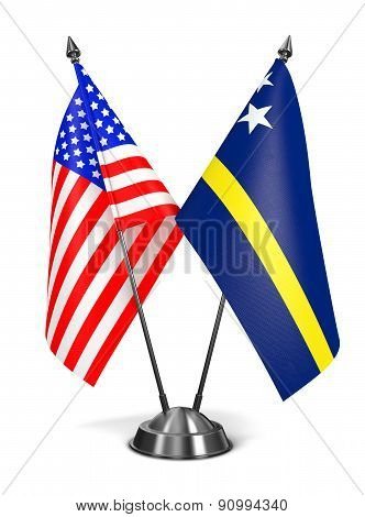 USA and Curacao - Miniature Flags.