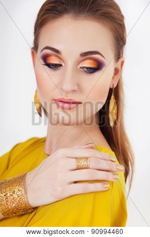 Portrait Of Young Beautiful Girl With Make Up