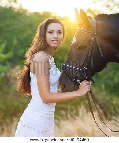 Beautiful Happy Woman With Long Hair Next Horse