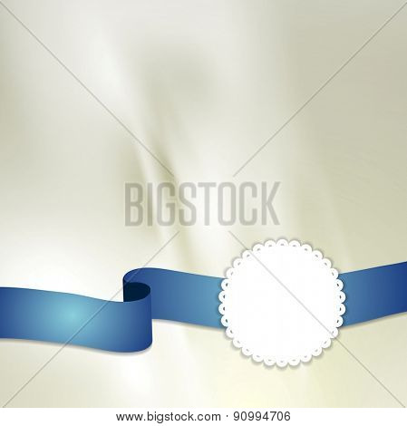 Tape and label on light silk background. Vector design