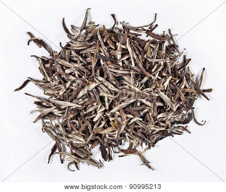 Heap Of Green Tea Leaves On A White