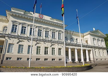 Exterior of the Presidential palace in Vilnius, Lithuania.