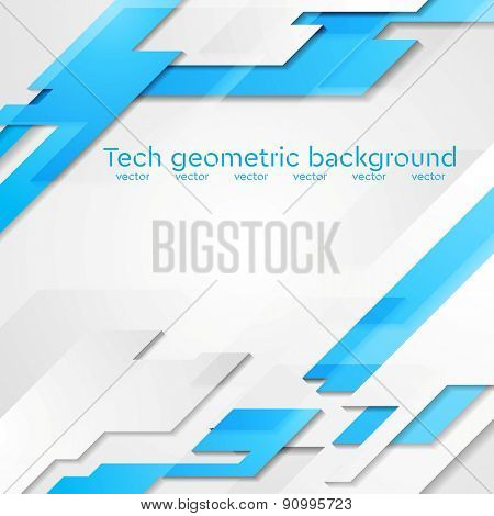 Blue grey hi-tech geometric abstract bright background. Vector card design