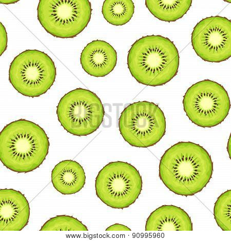 Seamless background with kiwi slices. Vector illustration.