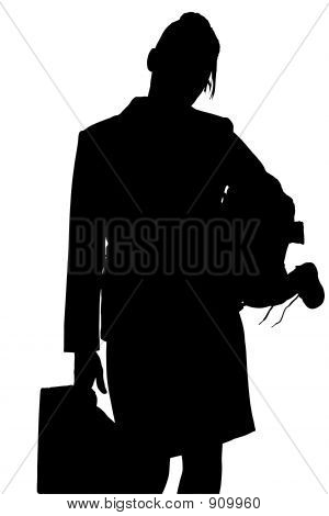 Silhouette With Clipping Path Of Working Mom