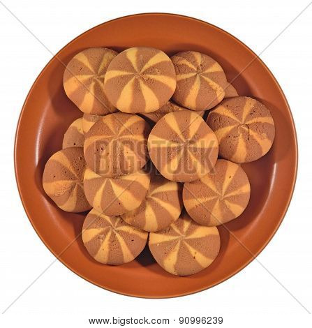 Sweet Round Cookies On A Ceramic Plate On A White