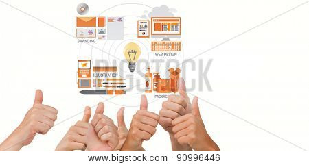 Hands giving thumbs up against business graphics