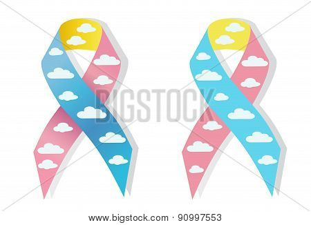 Cloud Pink And Blue Ribbon Awereness