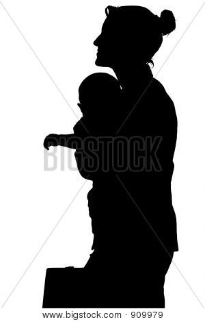 Silhouette With Clipping Path Of Business Woman With Baby