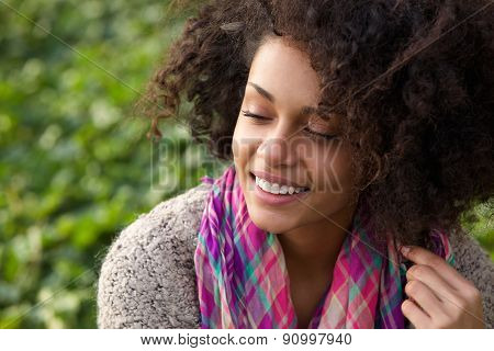 Confident Young African American Woman Smiling