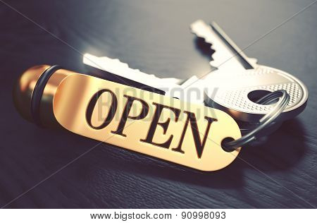 Open written on Golden Keyring.