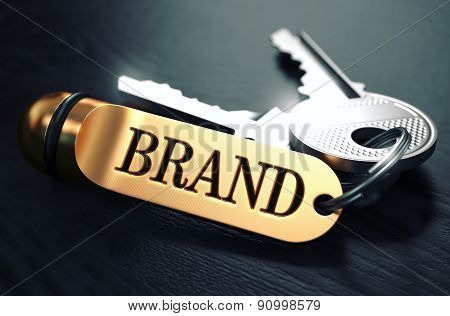 Brand - Bunch of Keys with Text on Golden Keychain.
