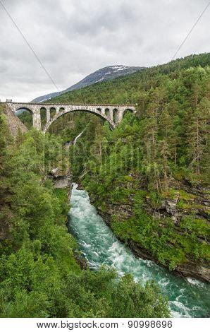 Railway Arch Bridge Kylling Crosses Rauma River