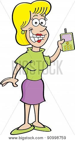 Cartoon women holding a cell phone.